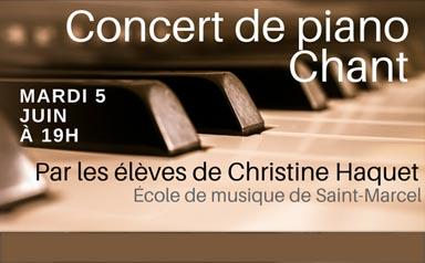 CONCERT de PIANO CHANT – Mardi 5 juin à 19h