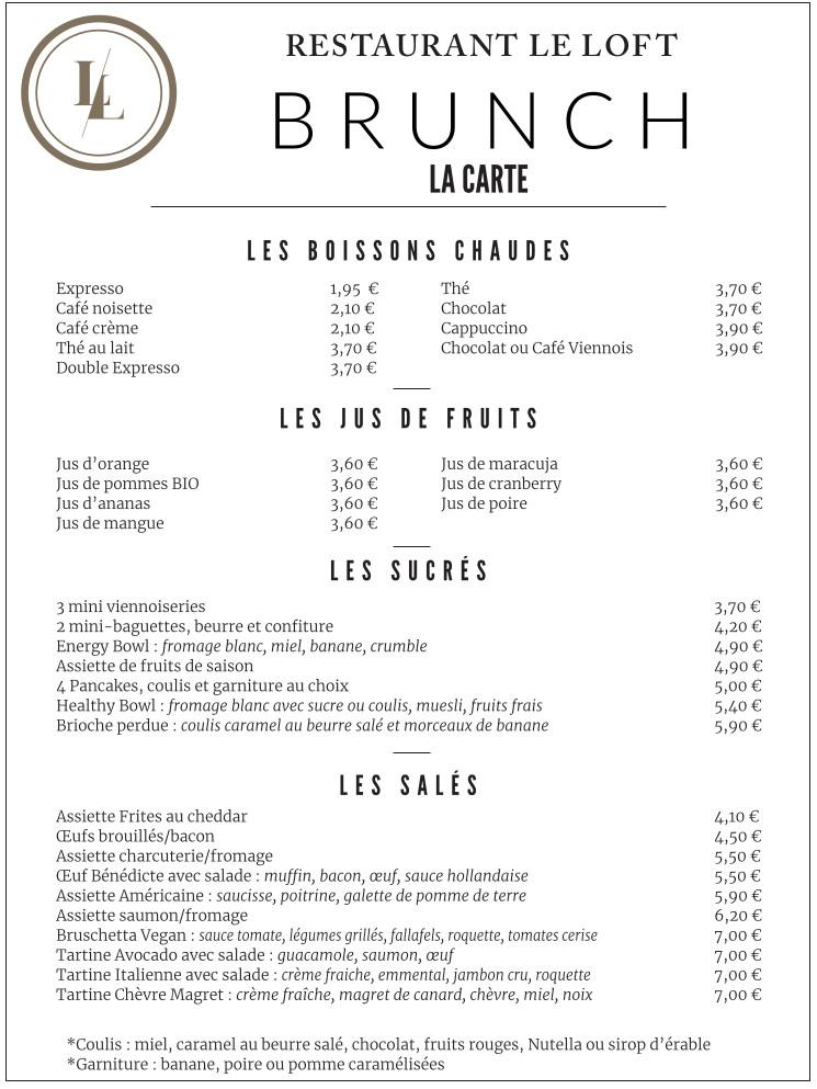 menu brunch la carte