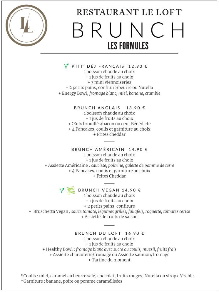menu brunch les formules