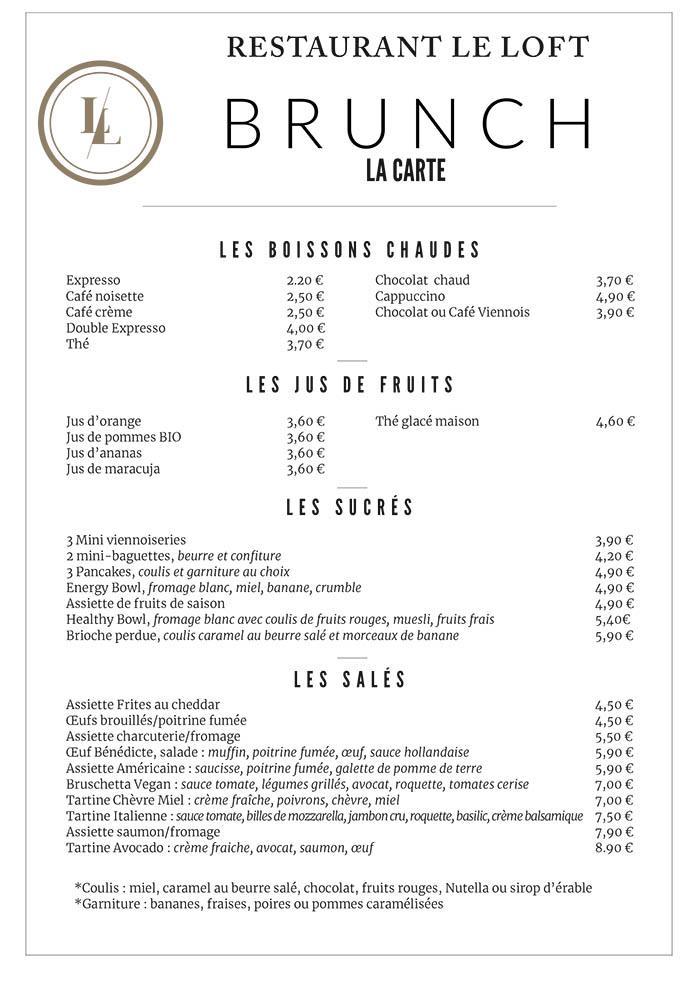 le loft menu brunch
